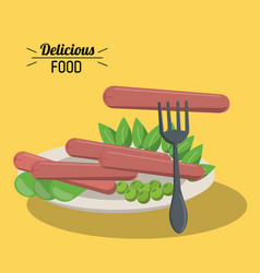 Delicious food dish with sausage and pea vegetable vector
