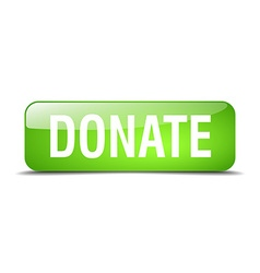 Donate green square 3d realistic isolated web vector