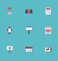 Flat icons man with banner placard social media vector