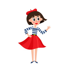 Flat parisian girl in beret red dress vector