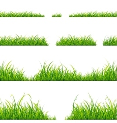 Green grass line set vector