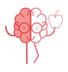 icon adorable kawaii brain with a lot of diamond vector image vector image