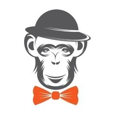 Monkey gentleman in hat vector