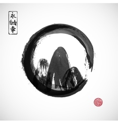 Mountains hand drawn with ink in black zen circle vector