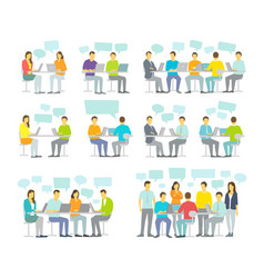 office team business people big set discussing vector image vector image
