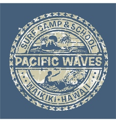 Pacific waves surf camp vector image vector image