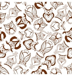 Seamless great horned owls pattern background vector image