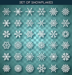 Set 36 white different snowflakes handmade with vector image vector image