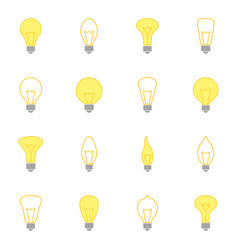 Set of color icons of bulbs vector