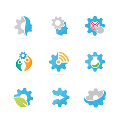 set of gear logo combination mechanic and vector image vector image