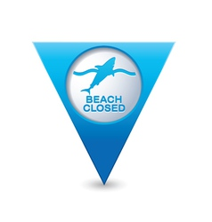 shark icon map pointer blue vector image vector image