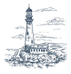 Sketch of lighthouse on island with rocks vector