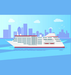 Spacious luxury cruise liner big red steamer vector