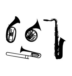 sticker on car silhouette of musical instruments vector image
