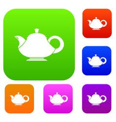 Teapot set collection vector