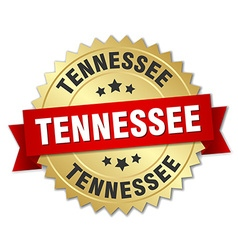 Tennessee round golden badge with red ribbon vector image vector image