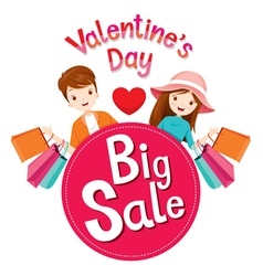 Valentines day big sale banner with man and woman vector