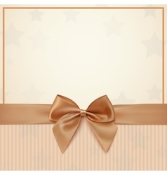 Vintage greeting card template with golden bow and vector image vector image