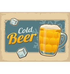 Vintage poster cold beer and snowflake retro vector