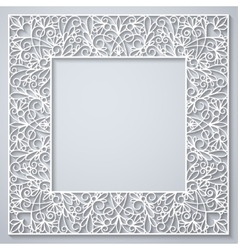 White square decor with shadow on white vector image vector image
