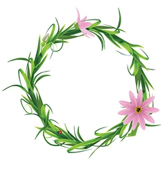 Wreath with blooming flowers isolated on a white vector image vector image