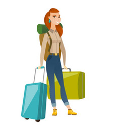 Young caucasian woman traveler with many suitcases vector