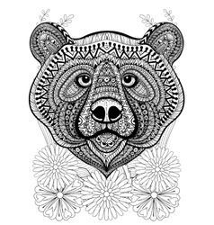 Zentangle stylized bear face on flowers hand vector