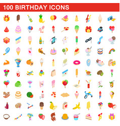 100 birthday icons set isometric 3d style vector image vector image