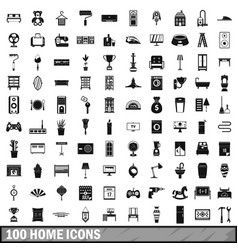 100 home icons set simple style vector image