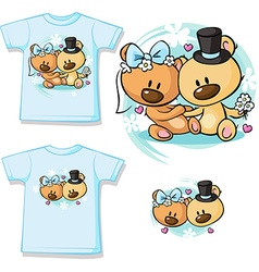 Bears in wedding dress sitting - shirt design vector