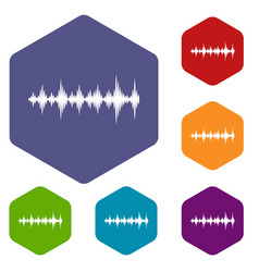 Music sound waves icons set vector
