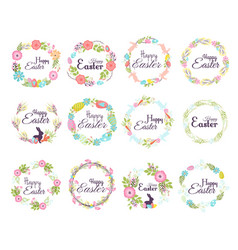 Happy easter hand drawn badge hand lettering vector