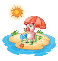 A pig at the beach vector image