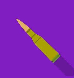 Military rifle bullet icon in flat style isolated vector
