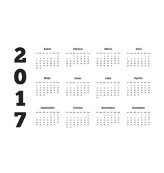 2017 year calendar in spanish isolated on white vector image vector image