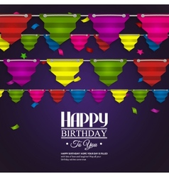Birthday card with bunting flags in the style of vector