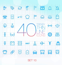 40 Trendy Thin Icons for web and mobile Set 10 vector image