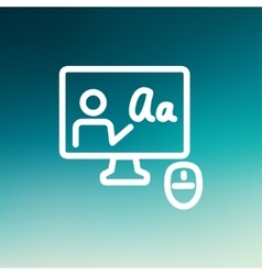 Desktop and mouse in online tutorial thin line vector image