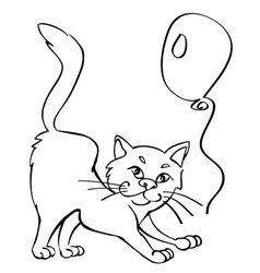 Cat and balloon vector