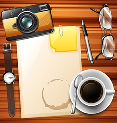 Blank paper and hot coffee vector