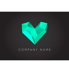 Trendy crystal triangulated gem logo element vector