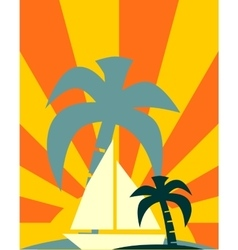 Yacht on sun rays backdrop vector