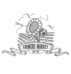 Farmers market badge monochrome vintage engraving vector