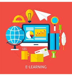Education and online learning flat concept vector
