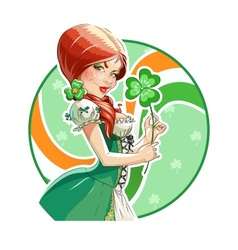 Beautiful girl with shamrock vector image vector image