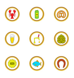 Beer snacks icons set cartoon style vector