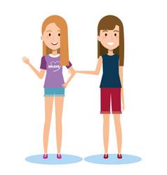 Best friends two girls happy standing vector