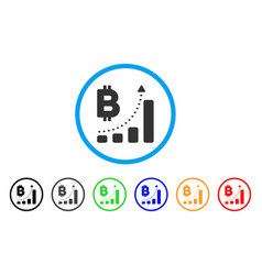 bitcoin bar chart positive trend rounded icon vector image