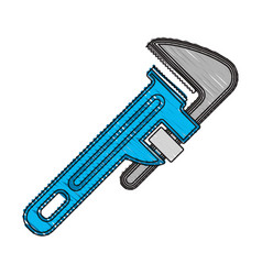 Colored crayon silhouette of pipe wrench vector