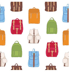 colorful seamless pattern with backpacks or vector image vector image